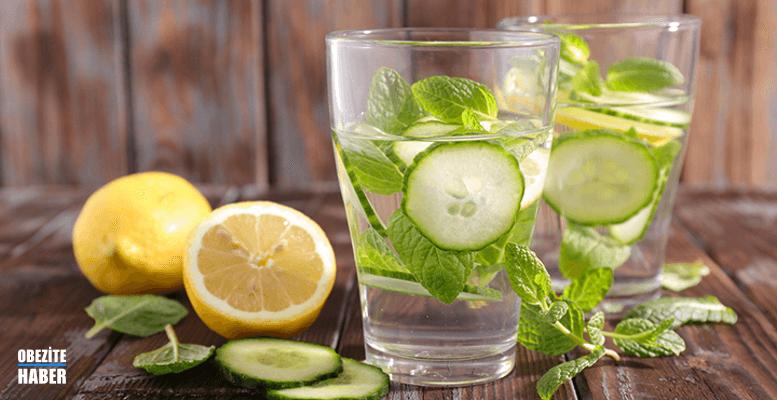 Limon, nane yaprağı, salatalık detoks